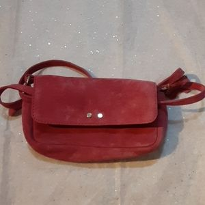 Suede dusty rose coin purse